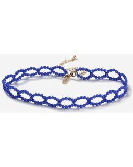 Facet Blue Loop Choker Necklace