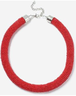 Red Block Bead Tube Necklace