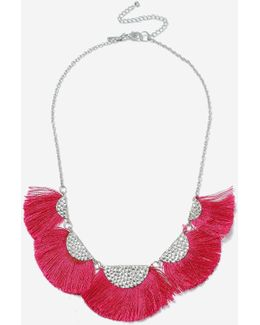 Fuchsia Fan Fringe Collar Necklace