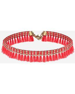 Neon Tassel Choker Necklace