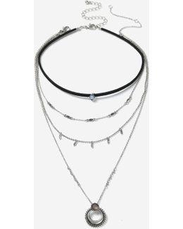 Horn Multirow Choker Necklace