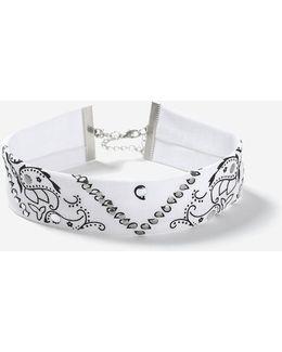 Paisley Print Fabric Choker Necklace