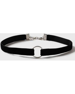 Thin Velvet Ring Choker Necklace