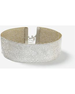 Wide Glam Rhinestone Choker Necklace