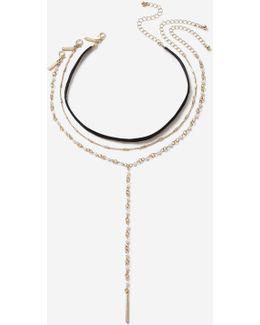 Cross Velvet Multi-row Necklace
