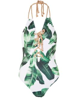 Palm Leaf Lace Up Swimsuit By