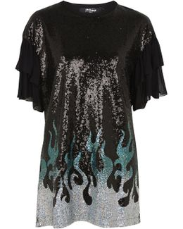 Sequin Flames Oversized T-shirt Dress By