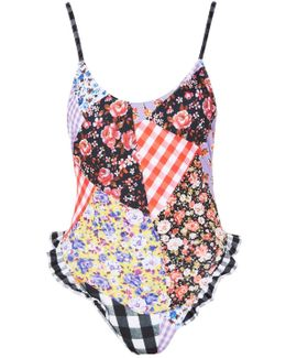 Gingham Patchwork Frill Swimsuit By
