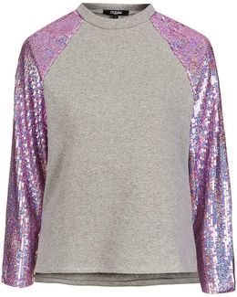 Pink Hologram Sequin Sleeve Sweat By