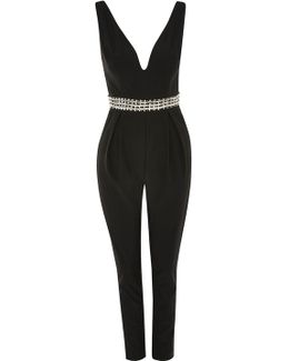 Aria Embellished Waist Jumpsuit By