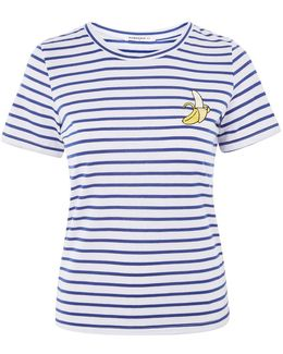 Banana Embroidery Striped T-shirt By