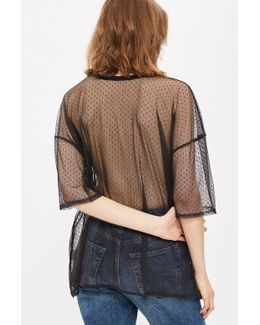 Oversized Dotted Mesh T-shirt By