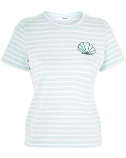 Striped Embroidered T-shirt By
