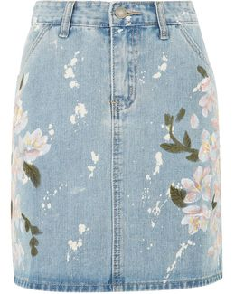 Floral Painted Denim Skirt By