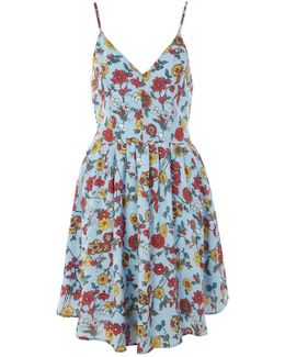 Raspberry Print Camisole Skater Dress By