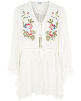 Embroidered Tie Front Top By