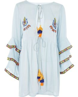 Embroidered Flared Tunic By