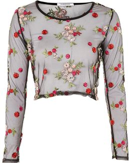 Floral Mesh Cropped Blouse By