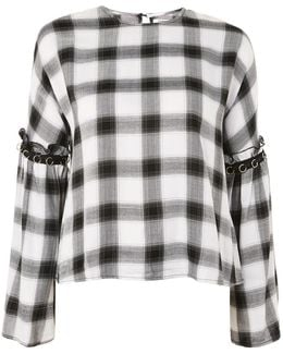 Check Bell Sleeve Blouse By