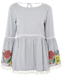 Embroidered Bell Sleeve Blouse By