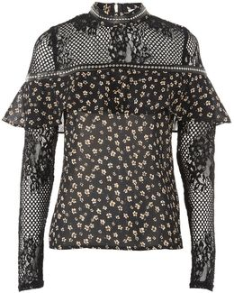 Mesh Floral Print Blouse By