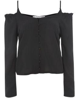 Cold Shoulder Button Front Blouse By
