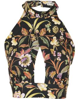 Floral Print Crossover Top By