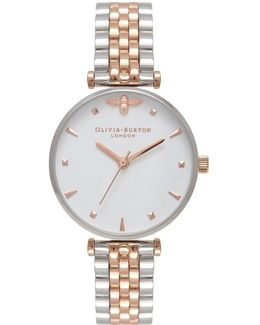 Queen Bee, Silver And Rose Watch By Olivia Burton