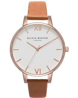 White Dial Tan And Rose Gold Watch By