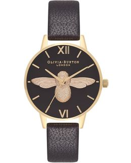 Midi 3d Bee Black & Gold Watch By