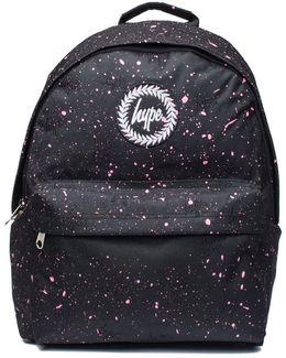 Black And Pink Speckle Backpack By