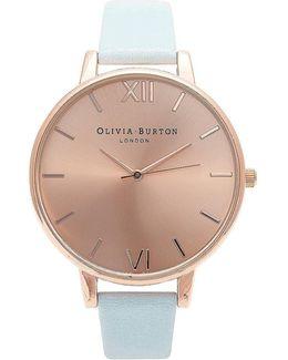 Olivia Burton Big Dial Powder Blue And Rose Gold Watch