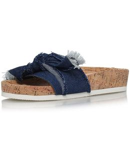 Denim Blue Flat Sandals By