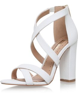 Faun White High Heel Sandals By