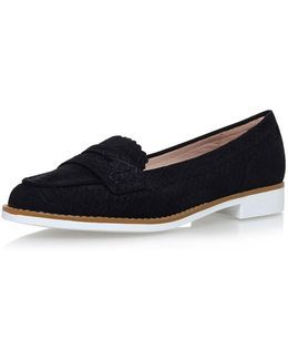 Black Flat Slip On Loafers By