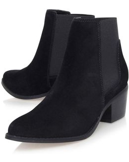 Black Low Heel Ankle Boots By