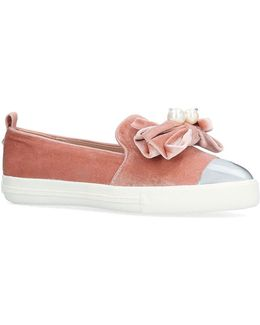Lottie Flat Slip On Bow Trainers By