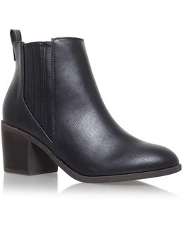 Black Mid Heel Ankle Boots By