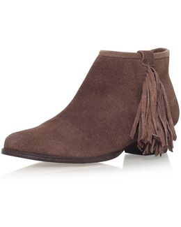 Sassy Taupe Low Heel Ankle Boots By