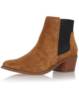 Spider Tan Low Heel Ankle Boot By