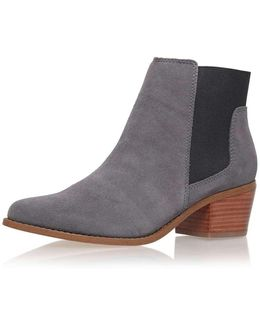 Spider Grey Low Heel Ankle Boots By