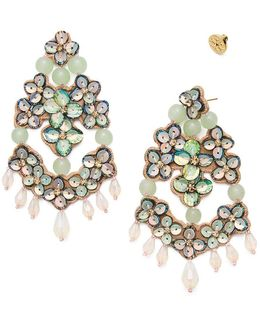 Opalescent Leather Chandelier Earring