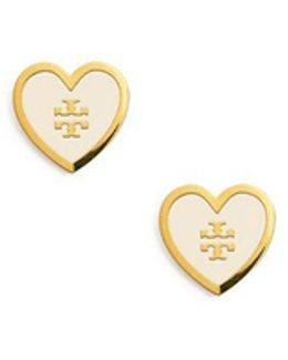 Lacquered Logo Heart Stud Earring