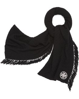 Textured Jacquard Oblong Scarf With Fringe