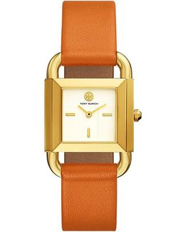 Phipps Watch, Orange Leather/gold-tone, 29 X 41 Mm