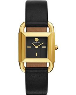 Phipps Watch, Black Leather/gold-tone, 29 X 41 Mm
