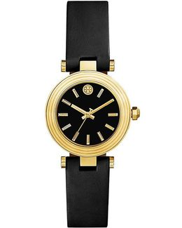 Classic-t Watch, Black Leather/gold-tone, 30mm