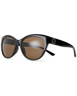 Metal-ring Logo Cat-eye Sunglasses