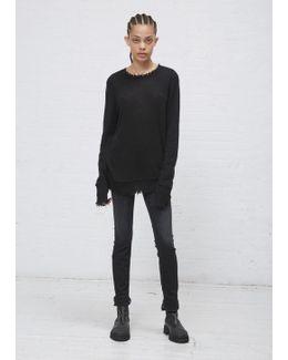 Black Distressed Edge Sweater