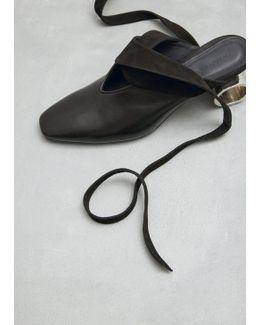 Black Cylinder Heel Ballet Shoe